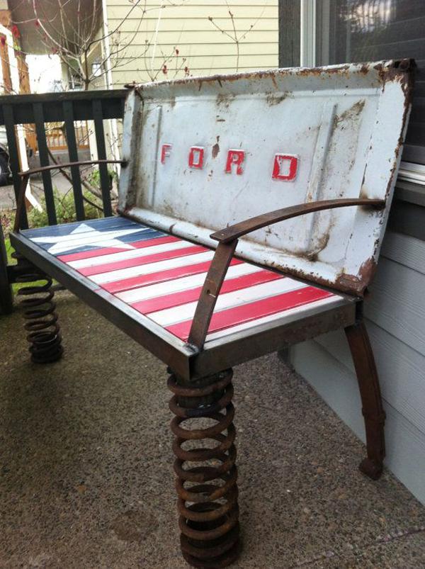 Rusty Old Car Parts Patriotic Bench