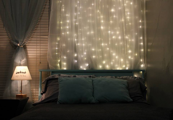 DIY Curtain Headboard With Christmas Lights Home Design And - Curtain lights for bedroom
