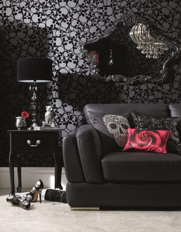 Beautiful Gothic Living Room With Skull Wallpaper