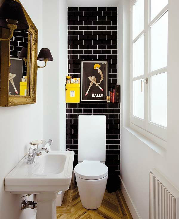 Cool small bathroom with pop colors for Cool small bathroom designs