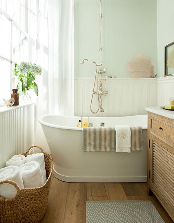 Cottage small bathroom ideas for Green color bathroom design