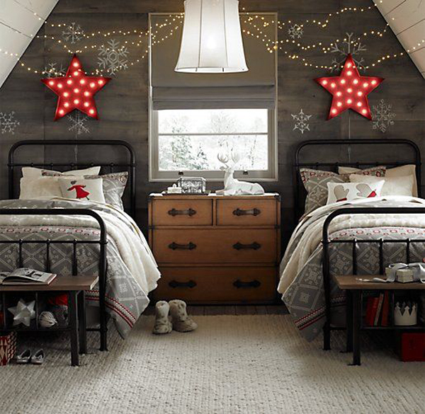 Double winter bedroom with starry nights - Winter bedroom decor ...