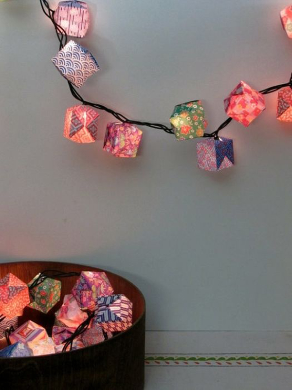 Origami Paper Lanterns Christmas Lights