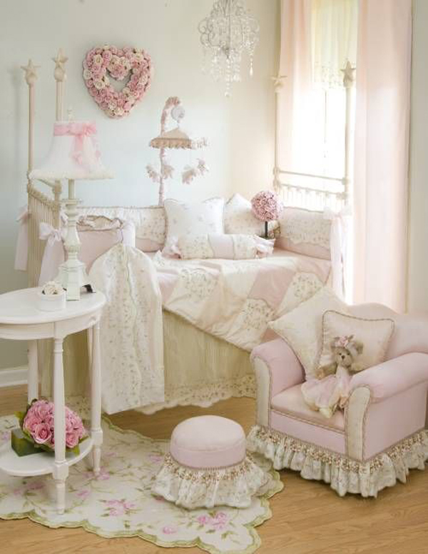 Shabby chic baby nursery with pink decor for Baby girl crib decoration ideas