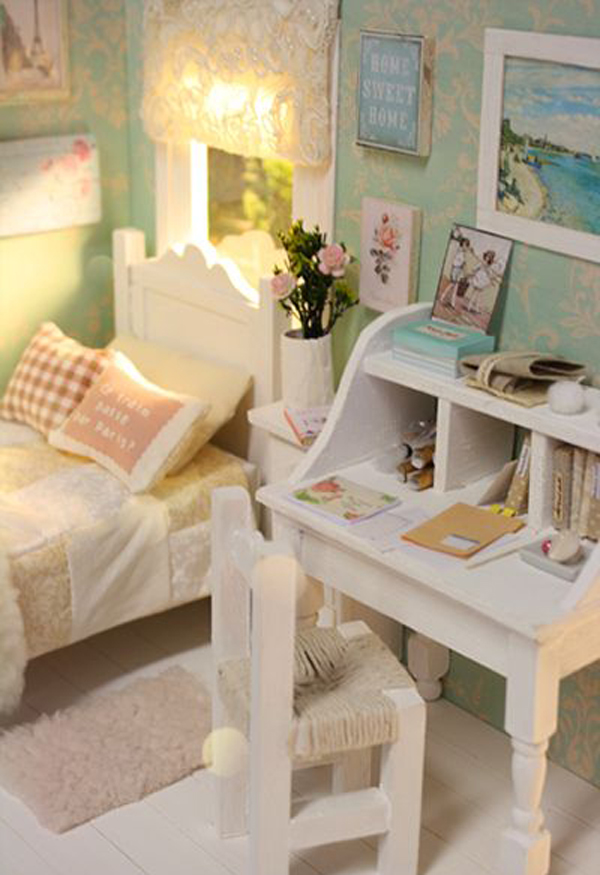 . shabby chic bedroom with writing desk