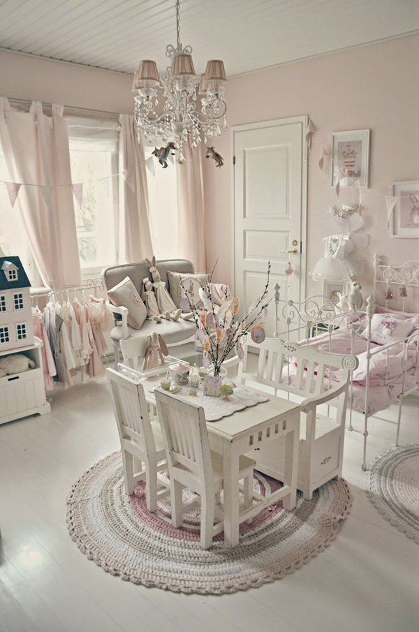 pareti shabby chic : shabby-chic-kids-bedroom-decoration