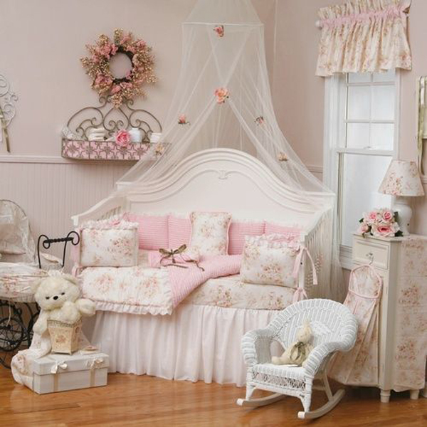 & shabby-chic-pink-canopy-bedroom