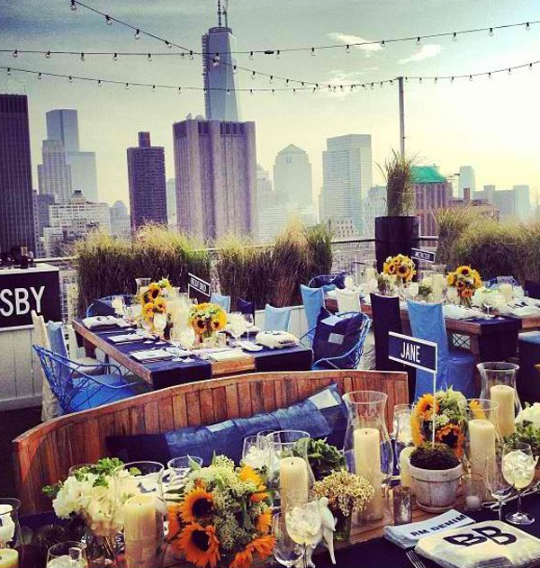 Urban rooftop dining wedding party