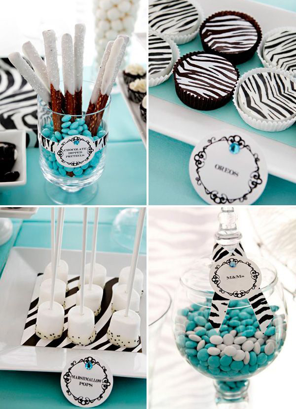 Zebra and tiffany blue party theme for Animal print decoration party