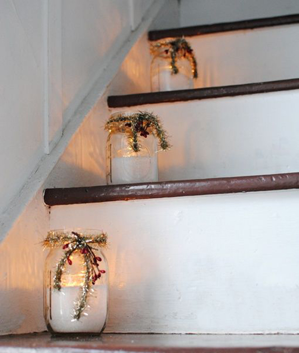 Christmas mason jar stairs decorations for Room decor ideas with mason jars