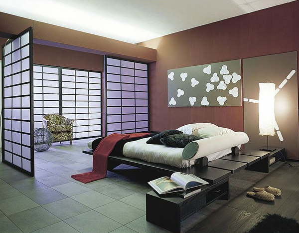 clean modern bedroom with asian theme