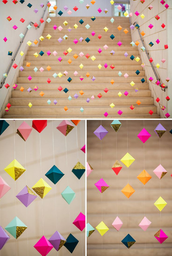 Colorful diamond paper curtains for Paper curtains diy