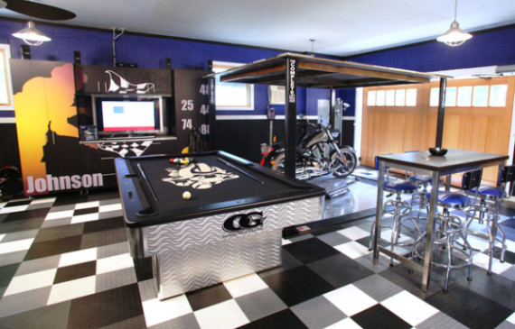 cool-garage-man-cave-with-automotive-art