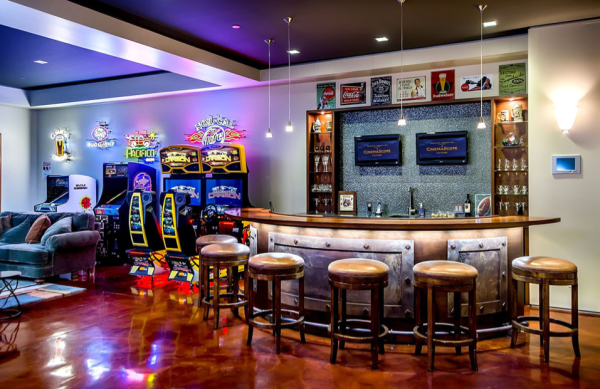 Garage Man Cave With Game Room