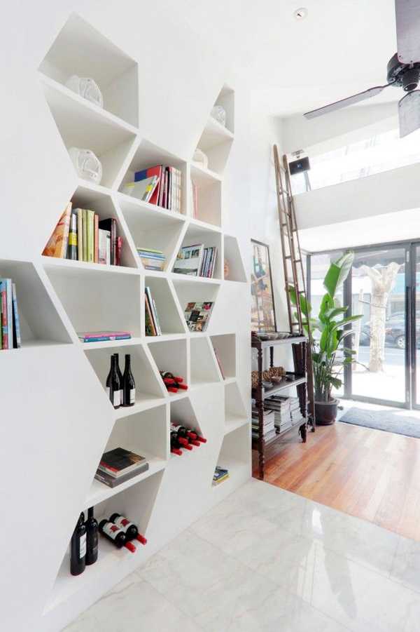 Geometric Bookcase With Storage Ideas