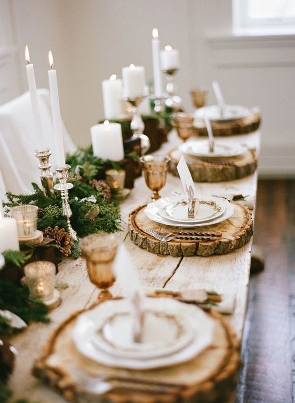 Natural christmas tablescapes with candle light - Deco de table naturel ...