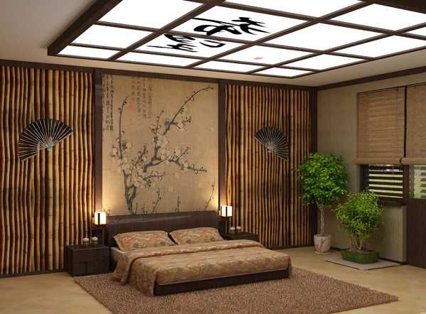 Nature Asian Bedroom With Bonsai Decor