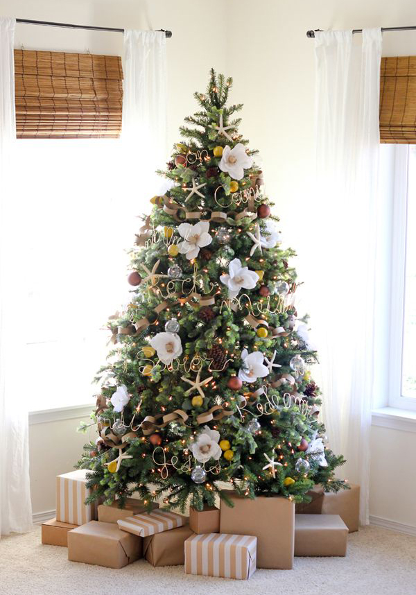 Pretty Christmas Tree With Floral Ornaments Home Design