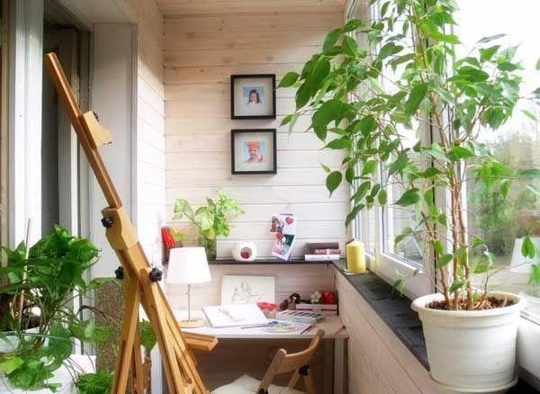 Small balcony home office with gardens for Garden home office design