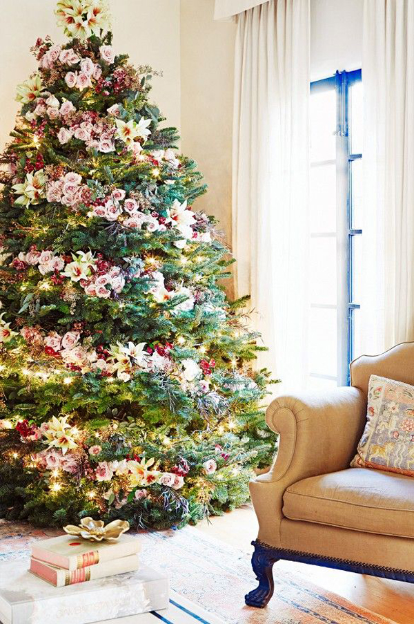 gallery of pretty christmas tree with floral ornaments