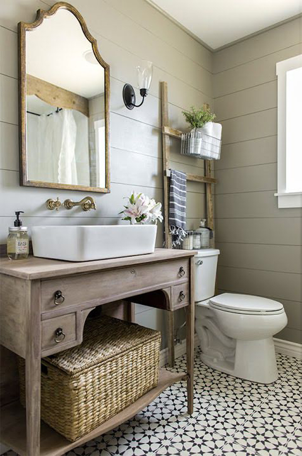 20 cozy and beautiful farmhouse bathroom ideas home for Pretty bathroom decorating ideas