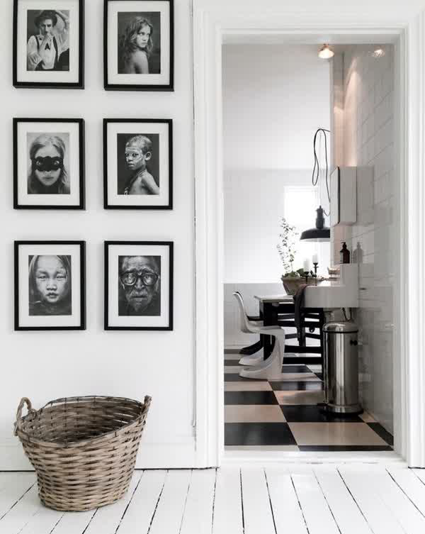 Black And White Display Family Photo Walls Home Design And Interior