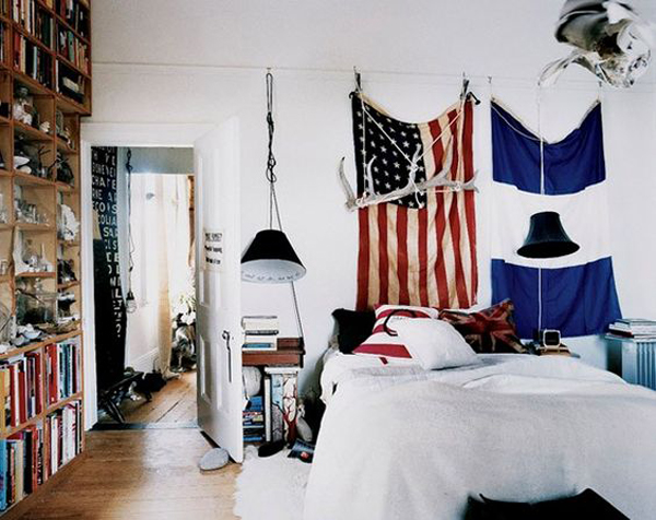 dorm room with american flag display home design and interior