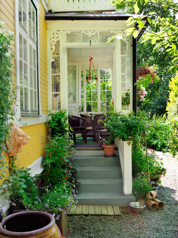 Cozy Front Porch With Pops Of Yellow Home Design And