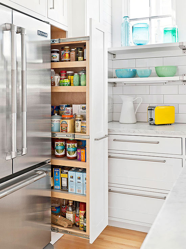 Hidden kitchen pantry designs for Hidden kitchen storage ideas