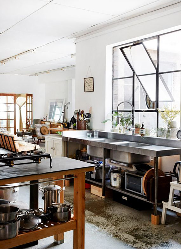 Cool and minimalist industrial kitchen design home for Industrial style kitchen