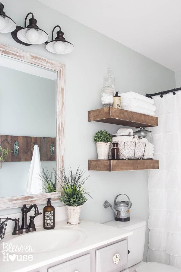 20 cozy and beautiful farmhouse bathroom ideas home for Bathroom shelves design