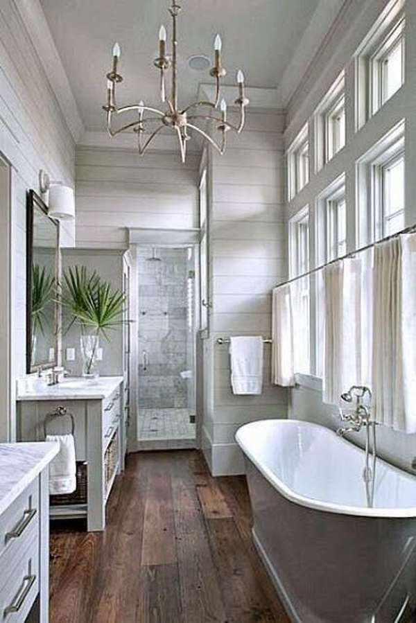 20 cozy and beautiful farmhouse bathroom ideas home for Bathroom ideas with wood floors