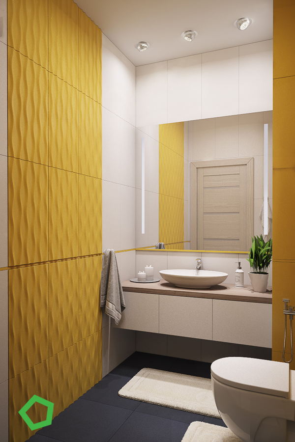 Modern Yellow Accent Apartment For Young Family Home