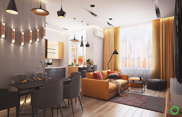 yellow is the color that is energetic but not necessarily hard a combination of red and orange accents on the apartment also help to neutralize the room