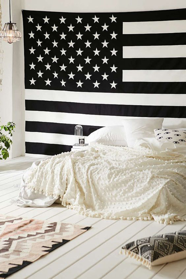 College Dorm Room With American Flag Display Home Design
