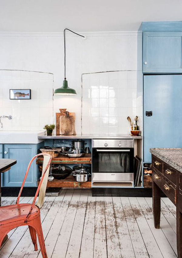 Vintage industrial kitchen decor for Vintage minimalist interior design