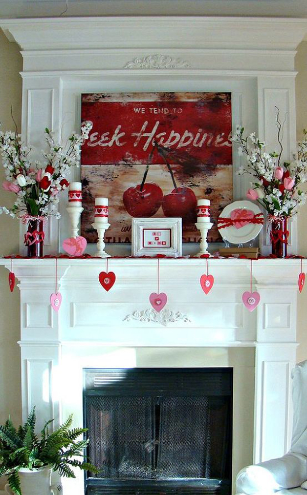 20 gorgeous valentine 39 s day mantel decorations home design and interior. Black Bedroom Furniture Sets. Home Design Ideas