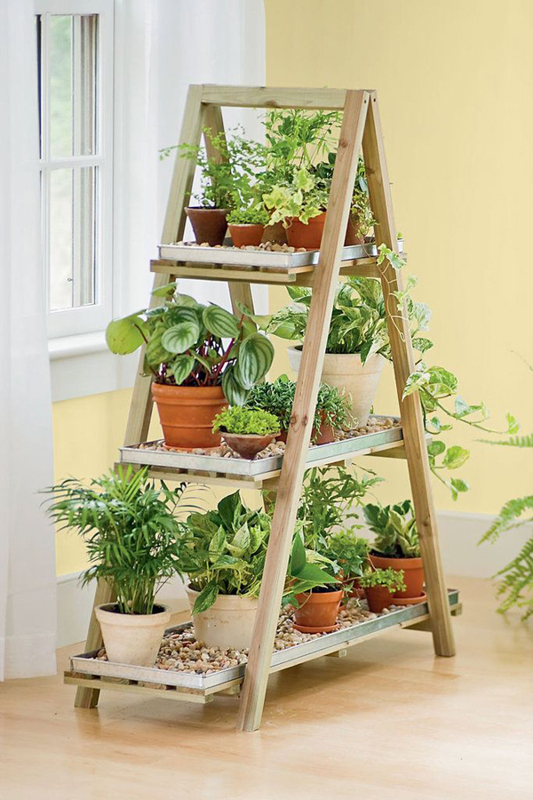 Raised indoor garden beds for herbs