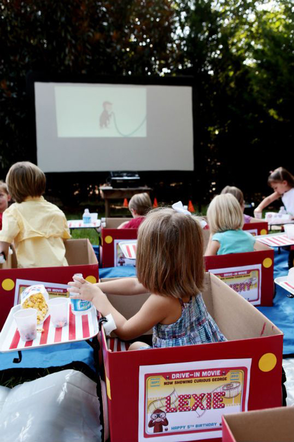 Kids Backyard Movie Theater With Box Cars Homemydesign