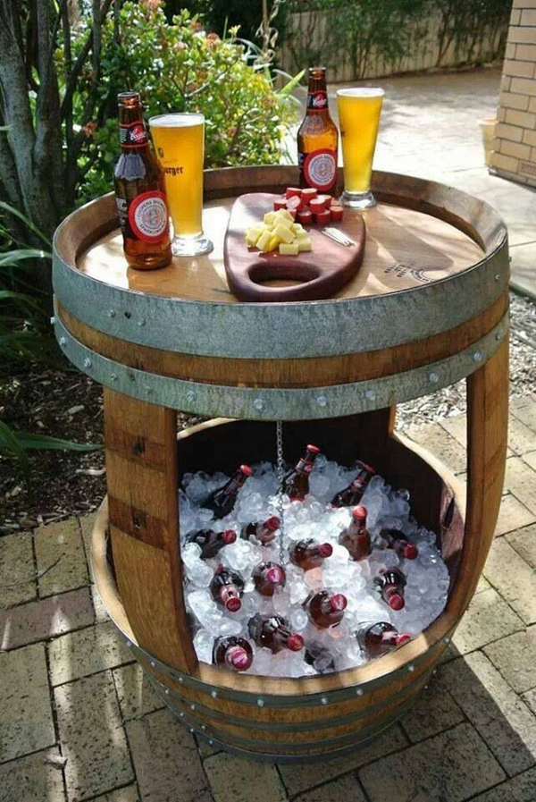 Wine Barrel Outdoor Table And Cooler