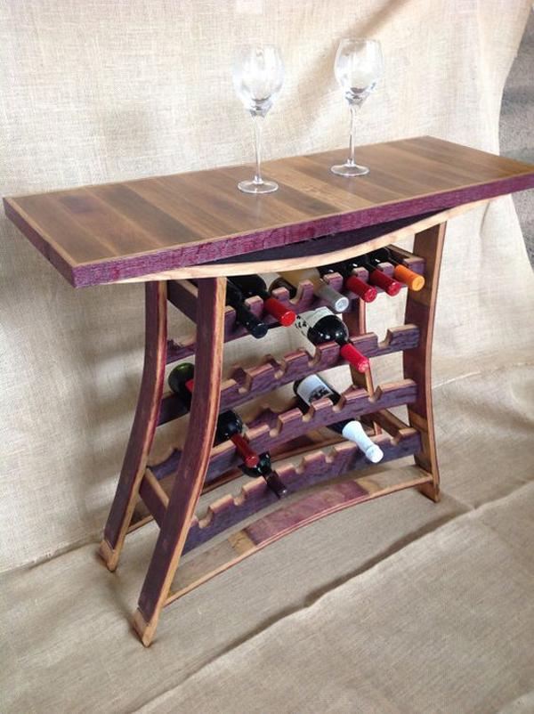 Wine Barrel Stave Wine And Port Rack Table