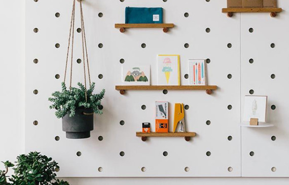 Pegboard Decorating Ideas. Pegboards With Storage Containers And ...