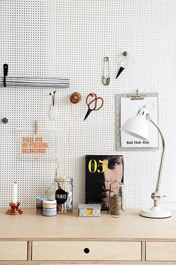 20 functional pegboard ideas to organize your room home for Craft wall storage system
