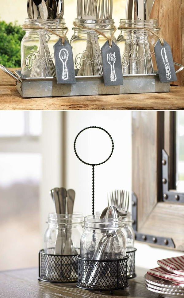 Repurpose Mason Jars Flatware Storage