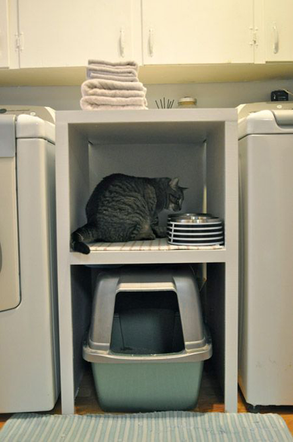 Small laundry room with cat litter box - Cat litter boxes for small spaces design ...