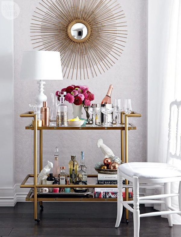 Stylish bar cart decor ideas for Home design gold ideas