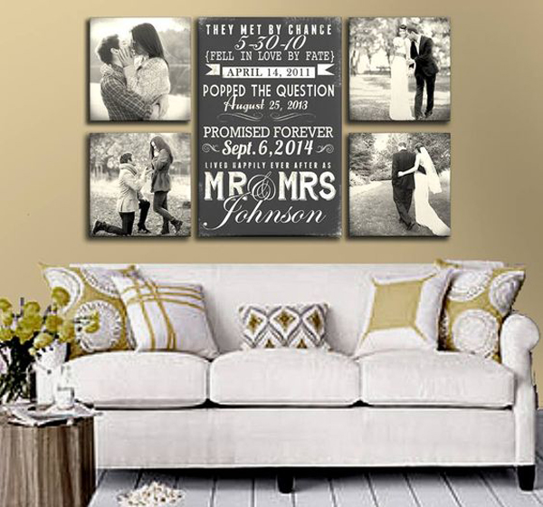 Wedding Bedroom Wall Decoration : Wedding photo display in wall decor