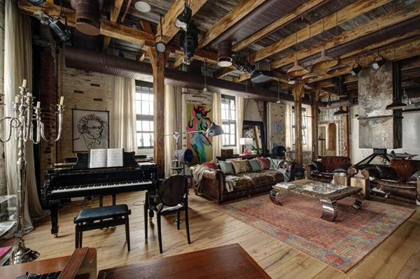 Bachelor Pad Living Room With Pianos