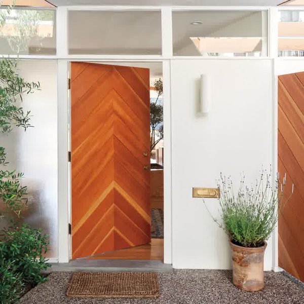 Chevron wooden front door for Natural wood front door