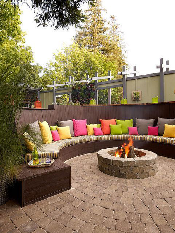 colorful backyard firepit ideas